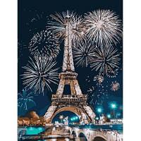 """Рисование по номерам """"Париж и феерверк """", 40х30 см"""