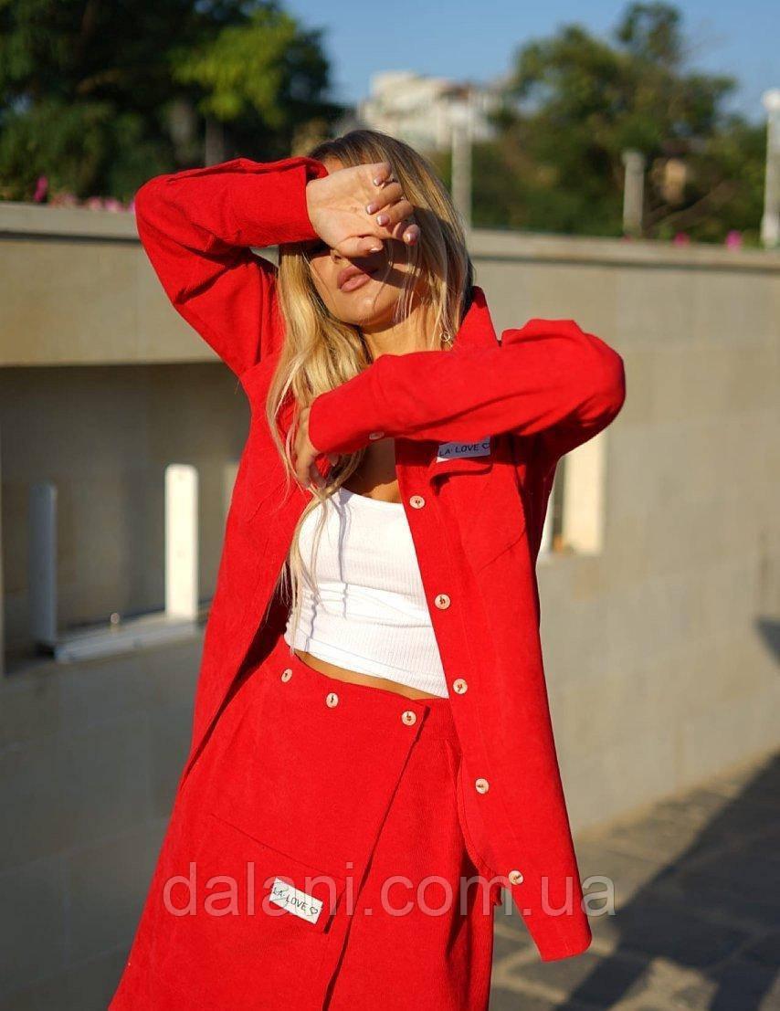 Женский юбочный красный костюм вельветовый