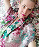 Шовковий хустку 10801-2, павлопосадский платок шовковий (атласний) з подрубкой, фото 4