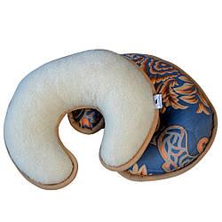 Подушка валик-рогалик HILZER (MERINO) шерсть/сатин. Гарантия 60 месяцев