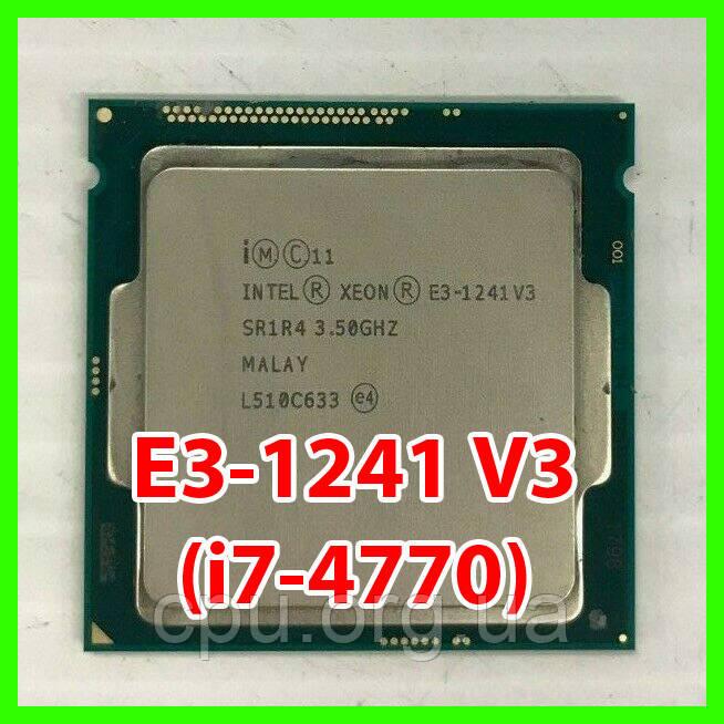 Процесор Intel Xeon E3-1241 V3 (i7-4770) LGA1150 (SR1R4) 4 ядра 8 потоків 3.50-3.90 Ghz / 8M / 5GT/s Haswell