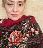 Над серебряной водой 734-5, павлопосадский платок шерстяной  с шерстяной бахромой, фото 4