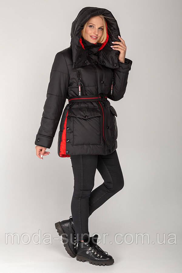 Зимняя женская куртка  оверсайз с сьемным капюшоном рр 46-56