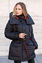 Зимняя женская куртка  оверсайз с сьемным капюшоном рр 46-56, фото 2