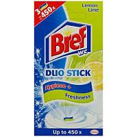 """Средство чистящее Bref Duo-Stick для унитаза """"Лайм и Мята"""" 3 стикера 27г"""