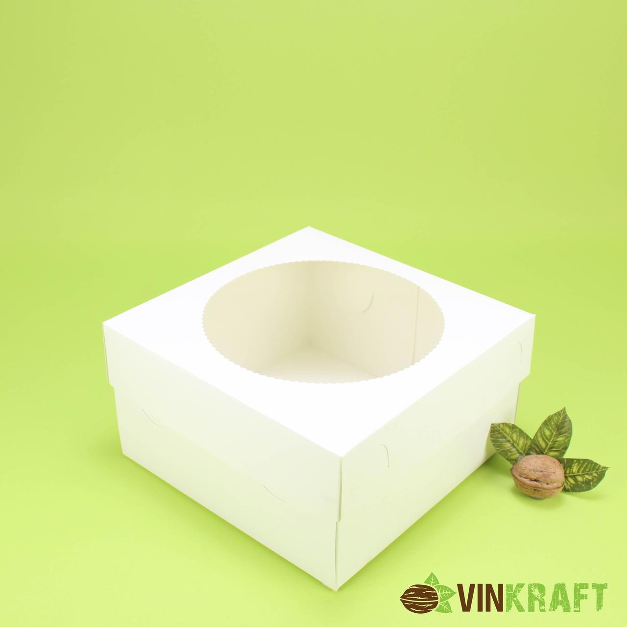 Коробка 200*200*105 для капкейков з вікном (4 шт), біла
