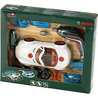 Детский Игровой Безопасный Набор Тюнинг-ателье с машиной и шуруповертом со звуком и светом Bosh Klein Кляин