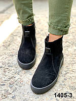 Хайтопы жіночі зимові замшеві чорні, фото 1