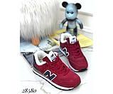 Зимние кроссовки бордовые NB, фото 2