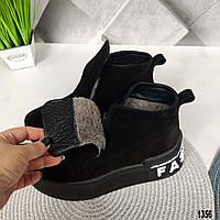 Зимние черные замшевые женские ботинки, фото 1