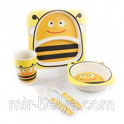 Набор детской бамбуковой посуды 5 предметов пчела