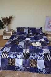 """Евро комплект постельного белья  """"ранфорс"""", расцветка как на фото, квадраты"""