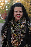 Майя 372-22, павлопосадский платок (шаль) из уплотненной шерсти с шелковой вязаной бахромой, фото 8