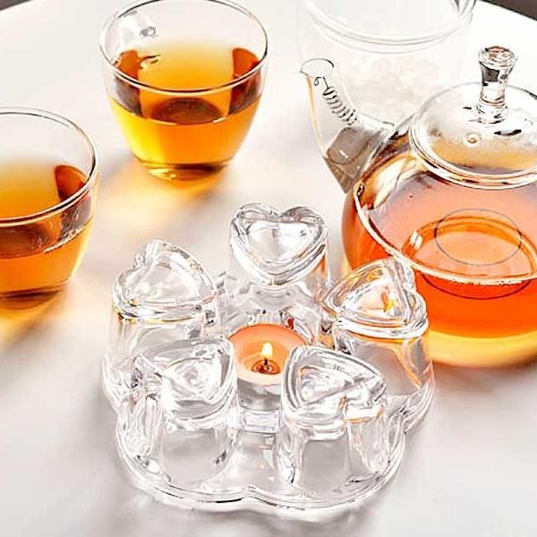"""Стеклянная подставка для подогрева чайников HLS """"Сердце"""" (6800)"""