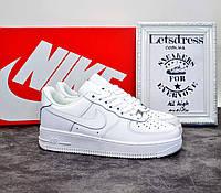 Женские кроссовки Nike Air Force 1 low white найк аир форс белые низкие кожаные аір форси 40