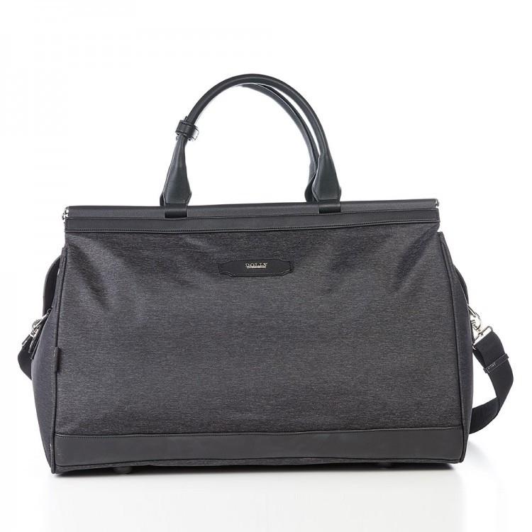 Велика дорожня сумка чорна на 49 л. Dolly 252 саквояж з плечовим ременем