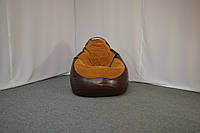 Кресло мешок комбинированное из Флока и экокожи Rainbow XXXL, Шоколад, Светло-коричневый