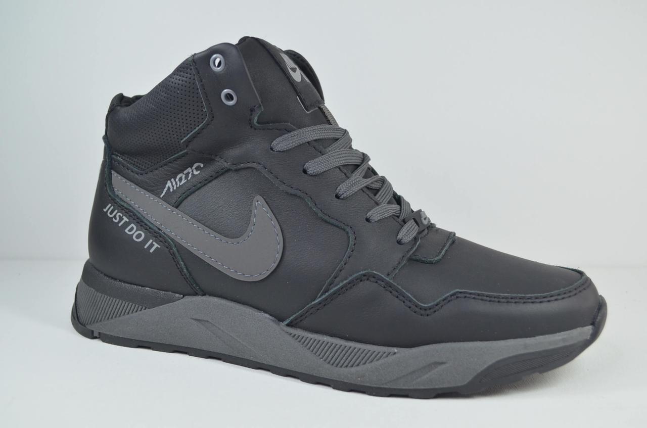 Чоловічі зимові шкіряні кросівки чорні N ч.