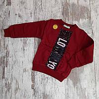 Батник теплый детский с начесом для мальчика под резинку Lost On 1-4 года, бордового цвета