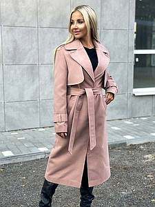 """Женское кашемировое пальто-тренч """"LUX"""" с поясом и карманами"""