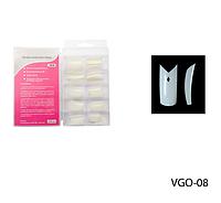 Матовые типсы (линия улыбки с V-образным вырезом; отверстие в форме ромба) Lady Victory LDV VGO-08 /82-0