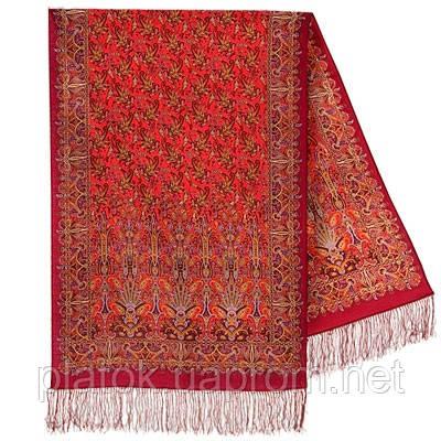 Обольщение 1338-55, павлопосадский шарф-палантин шерстяной с шелковой бахромой