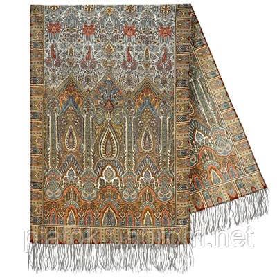 Царский 1159-51, павлопосадский шарф-палантин шерстяной с шелковой бахромой