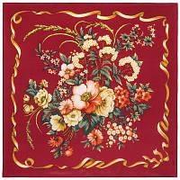 Пестрая лента 1305-5, павлопосадский шейный платок (крепдешин) шелковый с подрубкой