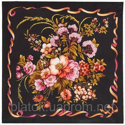 Пестрая лента 1305-18, павлопосадский шейный платок (крепдешин) шелковый с подрубкой