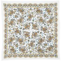 Радостный 687-2, павлопосадский платок на голову хлопковый (саржа) с оверлоком