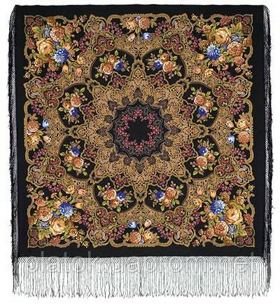 Радоница 920-18, павлопосадский платок (шаль) из уплотненной шерсти с шелковой вязанной бахромой