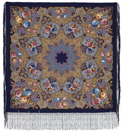Радоница 920-14, павлопосадский платок (шаль) из уплотненной шерсти с шелковой вязанной бахромой