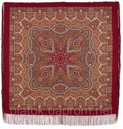 Ларец самоцветный 762-5, павлопосадский платок шерстяной  с шелковой бахромой