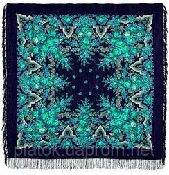 Русская красавица 325-14, павлопосадский платок шерстяной  с шерстяной бахромой