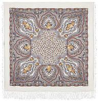 Фея сирени 406-3, павлопосадский платок шерстяной  с шелковой бахромой