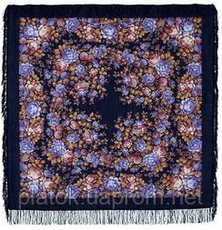 Цветочная сказка 1458-14, павлопосадский платок шерстяной  с шерстяной бахромой