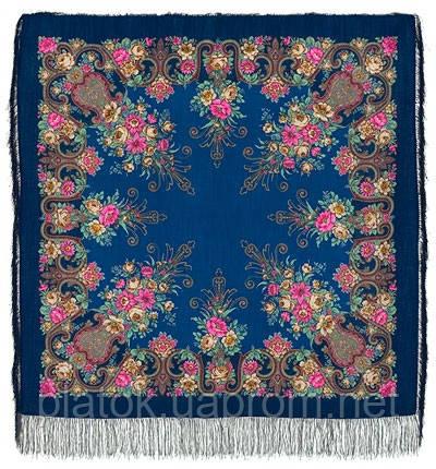 Рококо 1316-14, павлопосадский платок шерстяной с шелковой бахромой