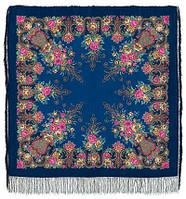 Рококо 1316-14, павлопосадский платок шерстяной с шелковой бахромой, фото 1