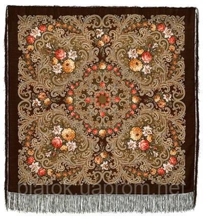 Таємниця серця 1437-17, павлопосадский вовняну хустку з шовковою бахромою