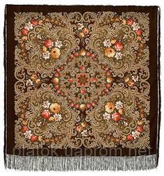 Тайна сердца 1437-17, павлопосадский платок шерстяной с шелковой бахромой