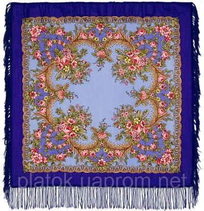 Вечерняя заря 1264-14, павлопосадский платок шерстяной  с шерстяной бахромой
