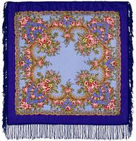 Вечерняя заря 1264-14, павлопосадский платок шерстяной  с шерстяной бахромой, фото 1