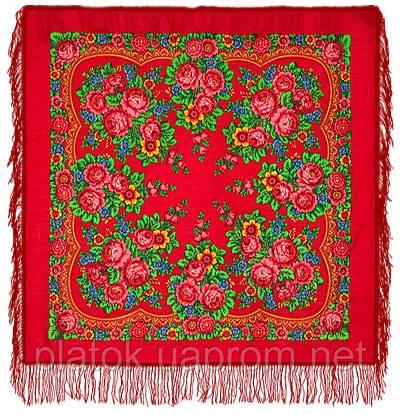 Матрешка 190-5, павлопосадский платок шерстяной с шерстяной бахромой