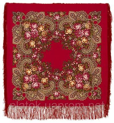 Незнакомка 779-5, павлопосадский платок шерстяной  с шелковой бахромой