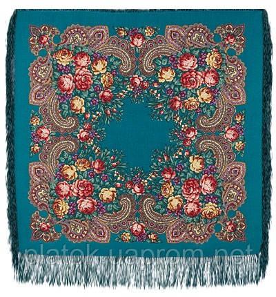 Незнакомка 779-11, павлопосадский платок шерстяной  с шелковой бахромой