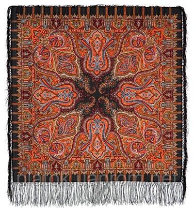 Шафран 1155-18, павлопосадский платок шерстяной  с шелковой бахромой