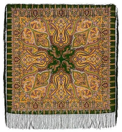 Шафран 1155-10, павлопосадский вовняну хустку з шовковою бахромою