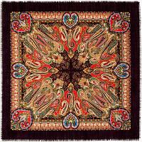 Масленичные гуляния 1334-18, павлопосадский платок шерстяной  с осыпкой (оверлоком)