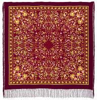 Песня ветра 1337-8, павлопосадский платок (шаль, крепдешин) шелковый с шелковой бахромой