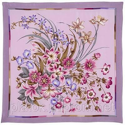 Чистые росы 661-4, павлопосадский платок (крепдешин) шелковый с подрубкой